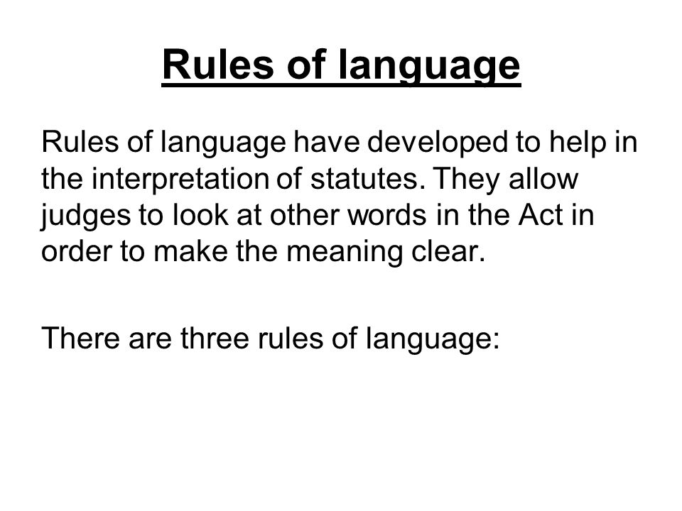 Rules of language