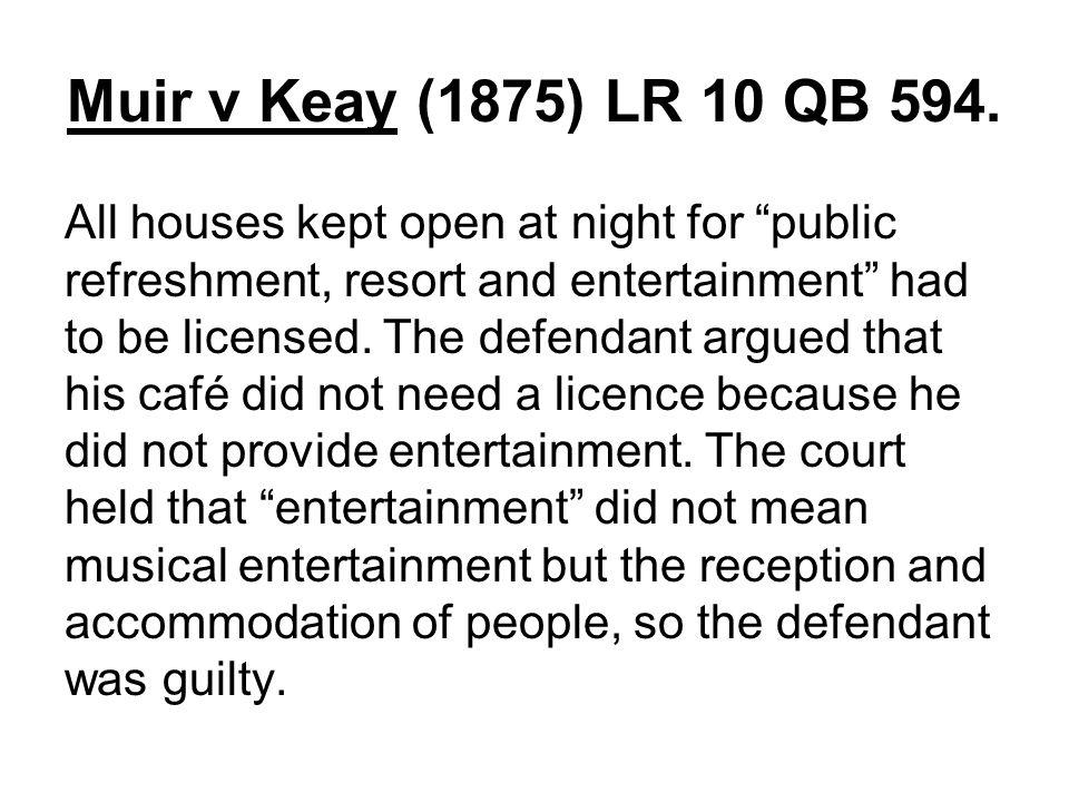 Muir v Keay (1875) LR 10 QB 594.