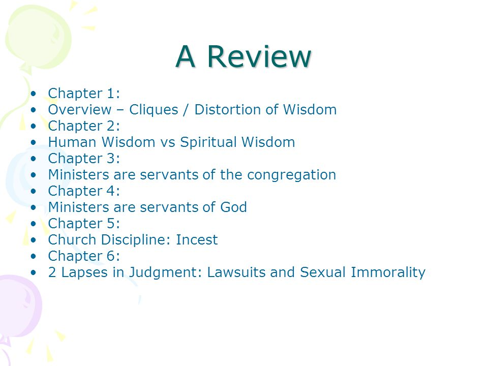A Review Chapter 1: Overview – Cliques / Distortion of Wisdom