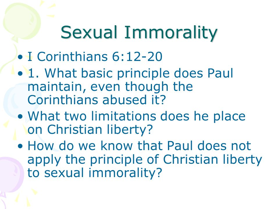 Sexual Immorality I Corinthians 6:12-20