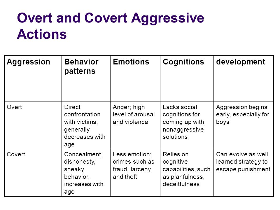 Overt and Covert Aggressive Actions