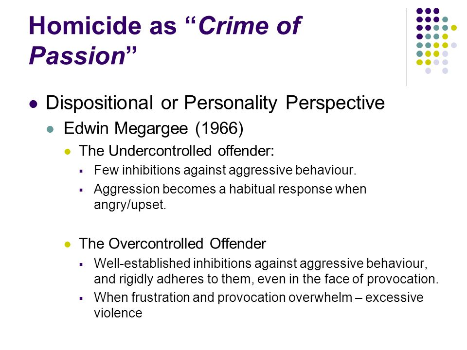 Homicide as Crime of Passion
