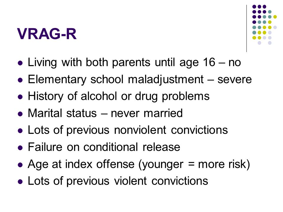 VRAG-R Living with both parents until age 16 – no