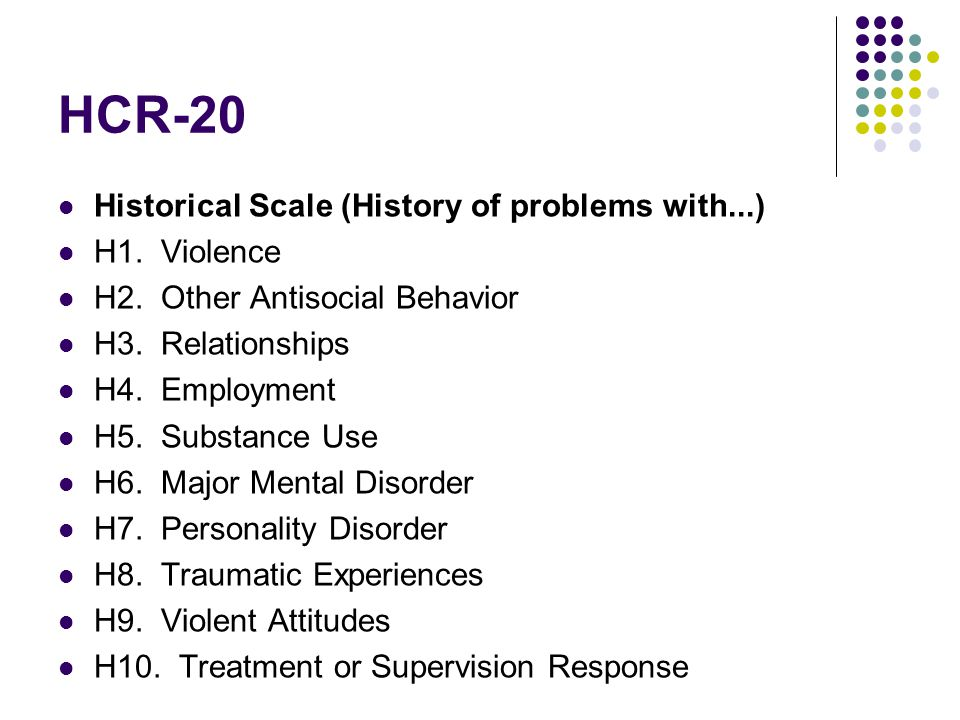 HCR-20 Historical Scale (History of problems with...) H1. Violence