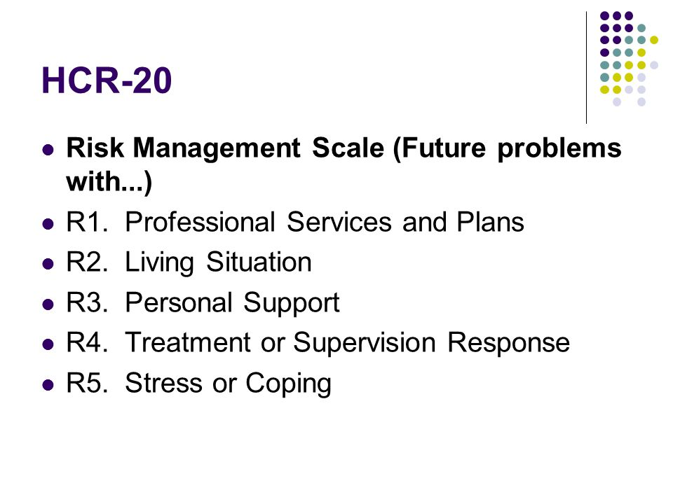 HCR-20 Risk Management Scale (Future problems with...)