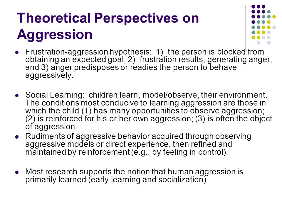 Theoretical Perspectives on Aggression