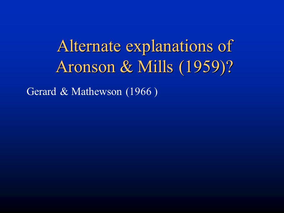 Alternate explanations of Aronson & Mills (1959)