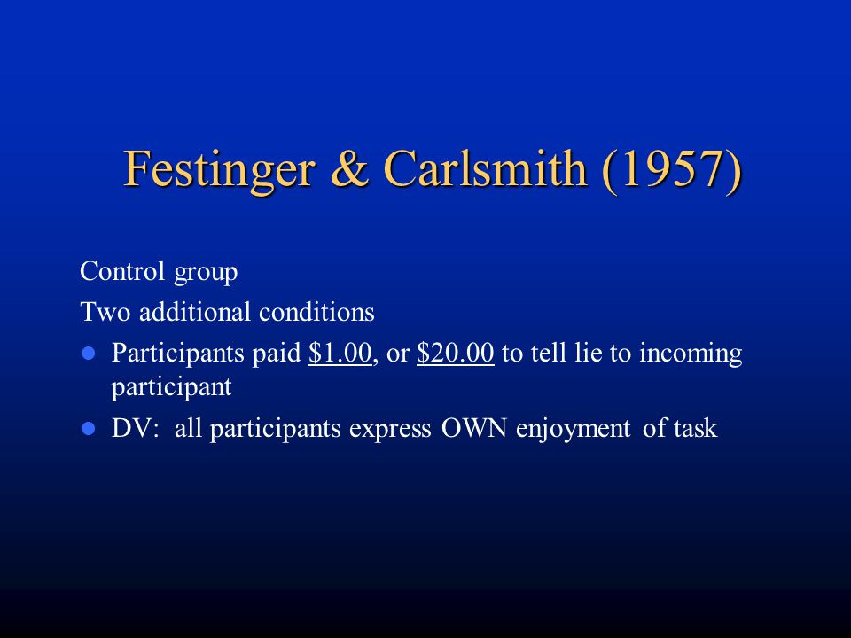 Festinger & Carlsmith (1957)