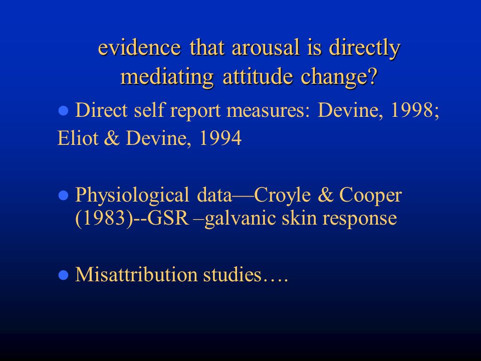 evidence that arousal is directly mediating attitude change