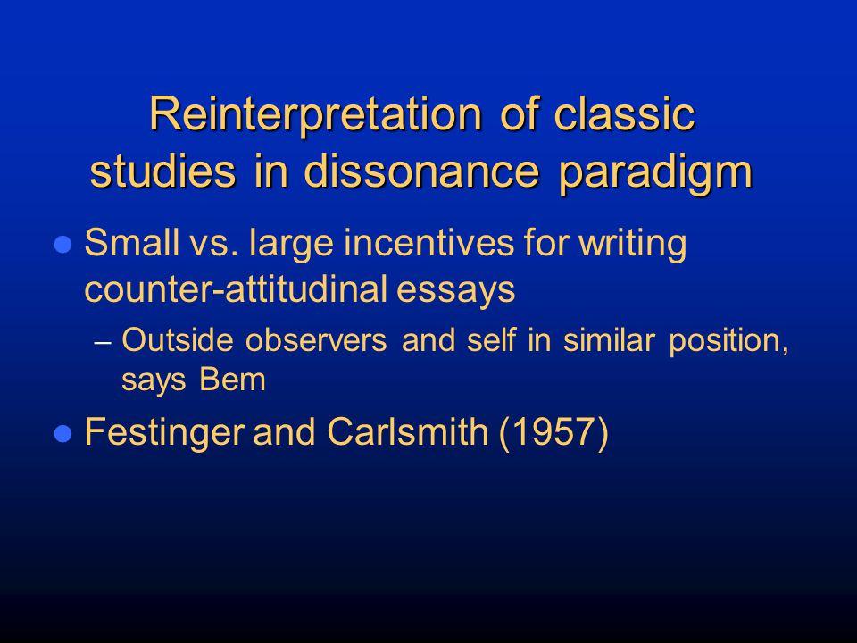 Reinterpretation of classic studies in dissonance paradigm