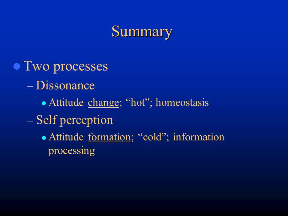 Summary Two processes Dissonance Self perception