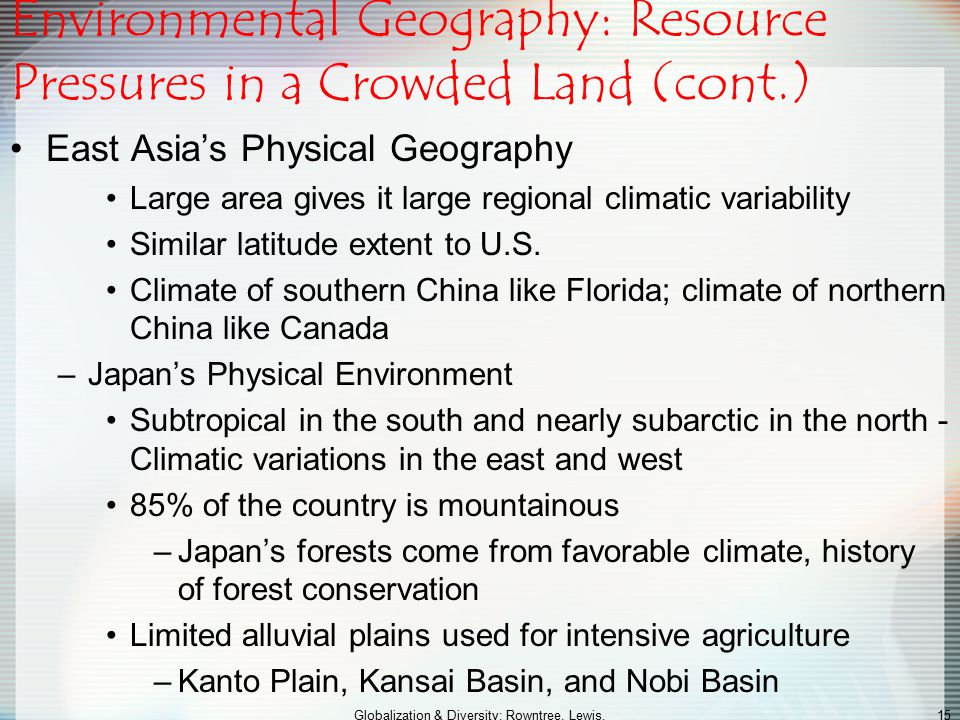 Environmental Geography: Resource Pressures in a Crowded Land (cont.)