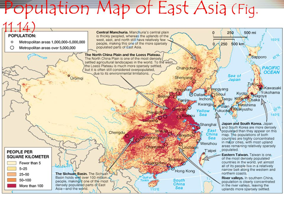 Population Map of East Asia (Fig. 11.14)
