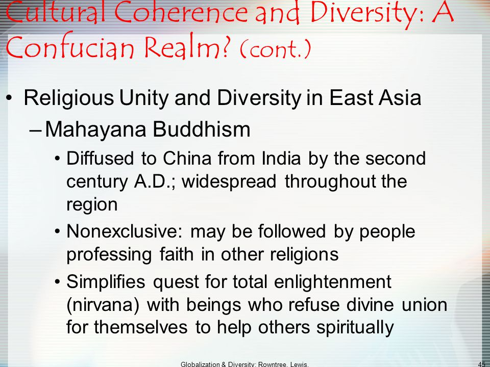 Cultural Coherence and Diversity: A Confucian Realm (cont.)
