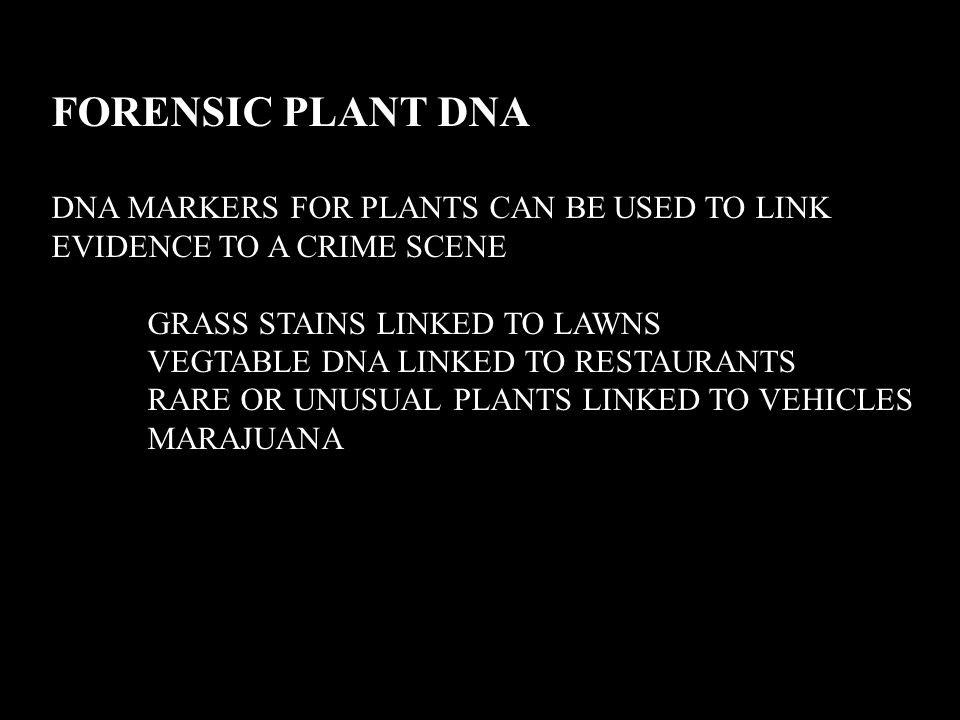 FORENSIC PLANT DNA DNA MARKERS FOR PLANTS CAN BE USED TO LINK EVIDENCE TO A CRIME SCENE. GRASS STAINS LINKED TO LAWNS.