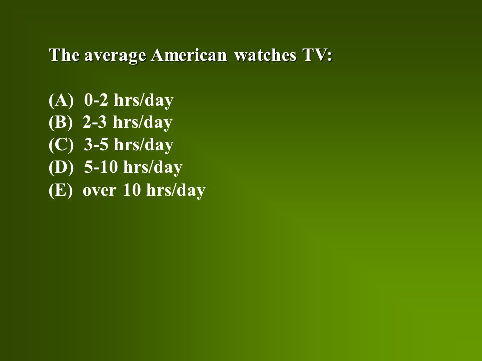 The average American watches TV: