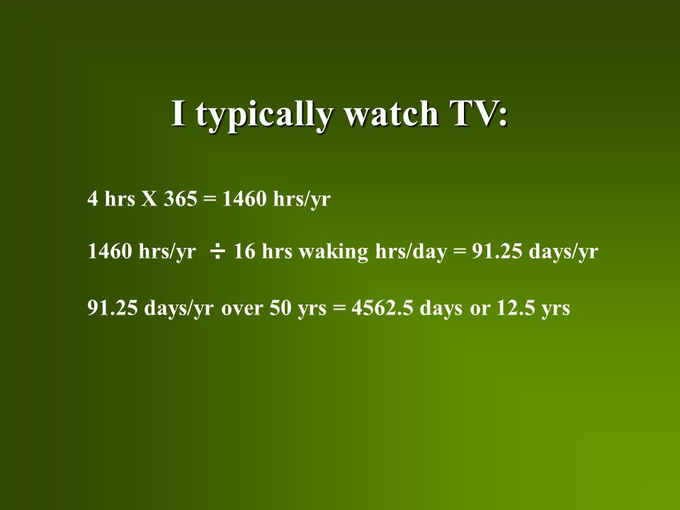 I typically watch TV: 4 hrs X 365 = 1460 hrs/yr