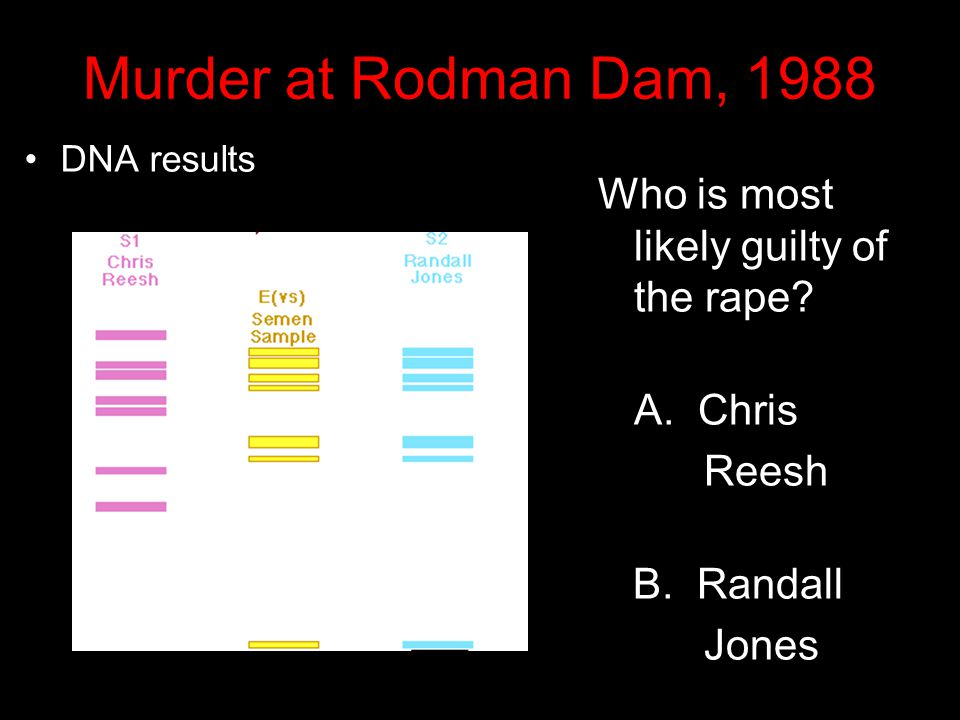 Murder at Rodman Dam, 1988 Who is most likely guilty of the rape
