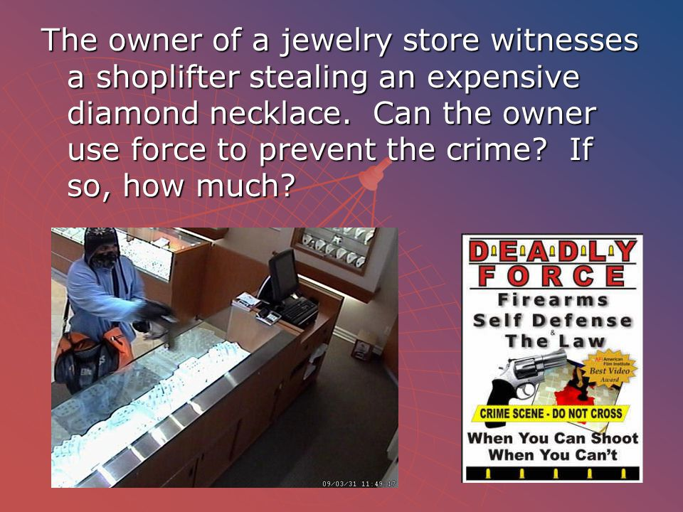 The owner of a jewelry store witnesses a shoplifter stealing an expensive diamond necklace.
