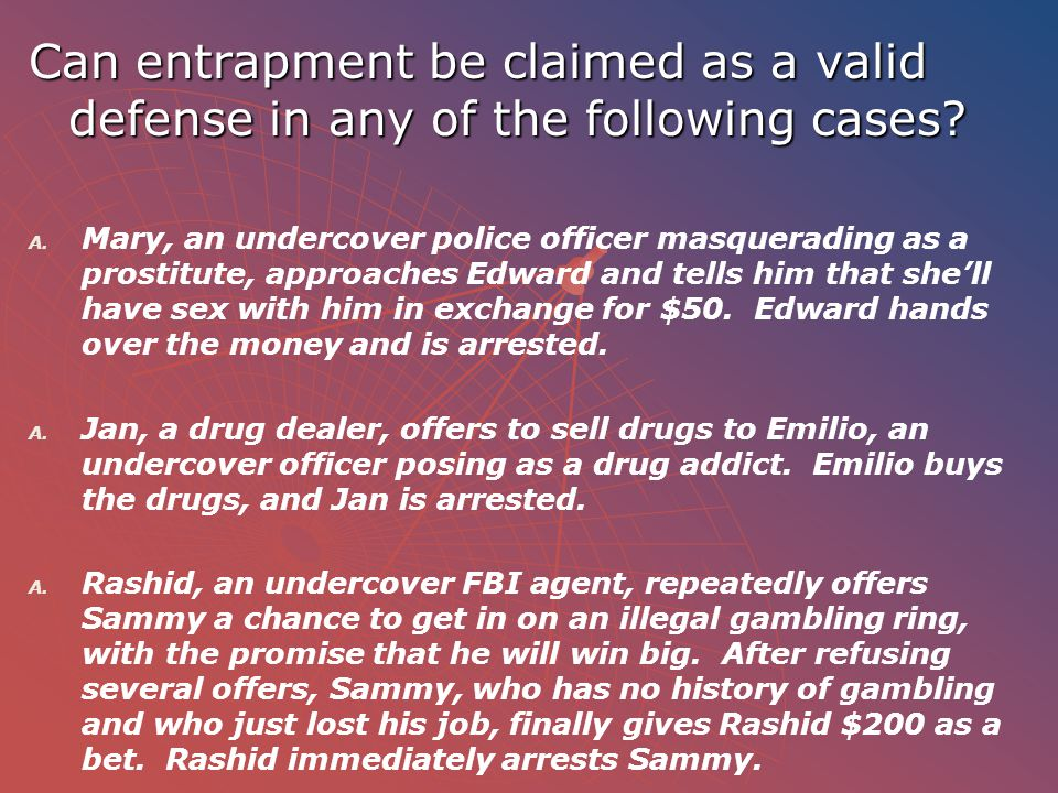 Can entrapment be claimed as a valid defense in any of the following cases