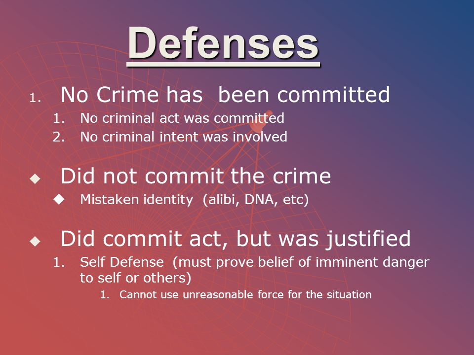 Defenses No Crime has been committed Did not commit the crime