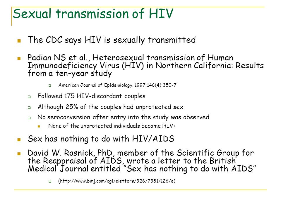 Sexual transmission of HIV