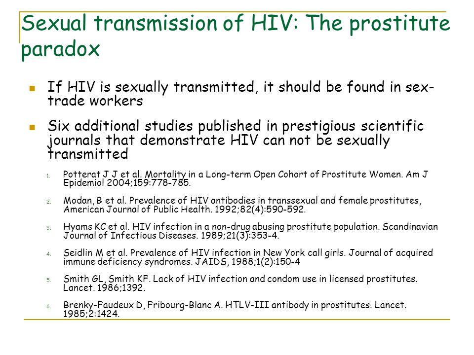 Sexual transmission of HIV: The prostitute paradox
