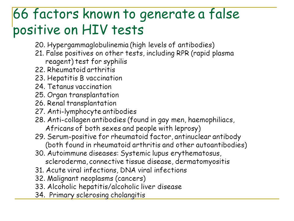 66 factors known to generate a false positive on HIV tests