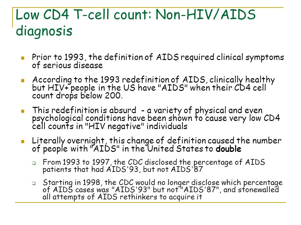 Low CD4 T-cell count: Non-HIV/AIDS diagnosis