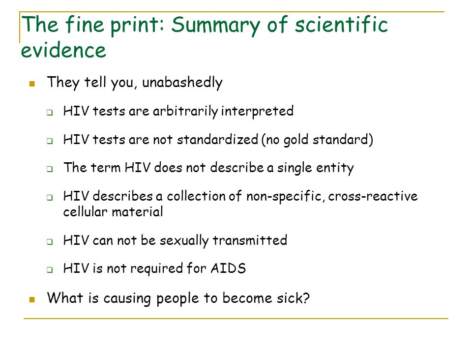 The fine print: Summary of scientific evidence