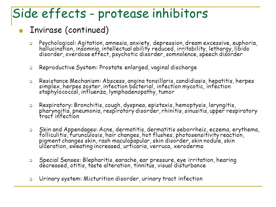 Side effects - protease inhibitors
