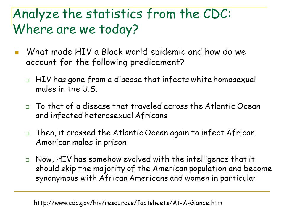 Analyze the statistics from the CDC: Where are we today