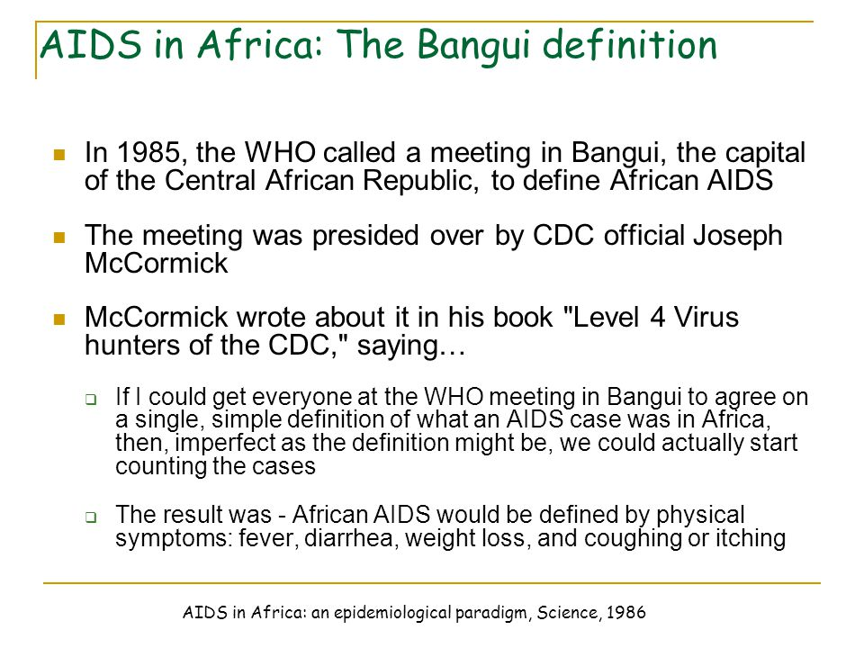 AIDS in Africa: The Bangui definition