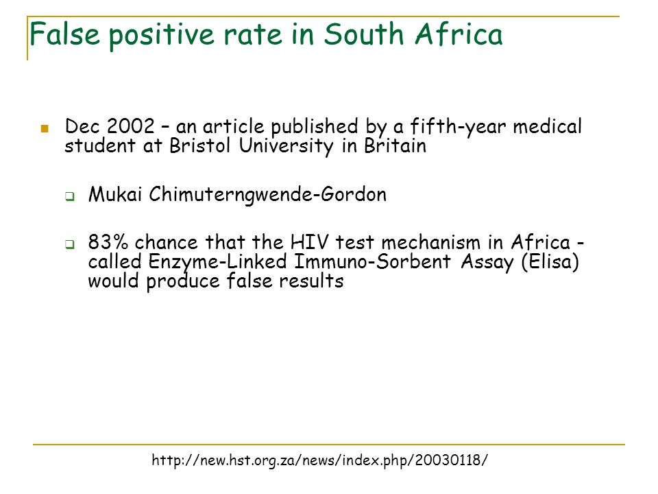 False positive rate in South Africa