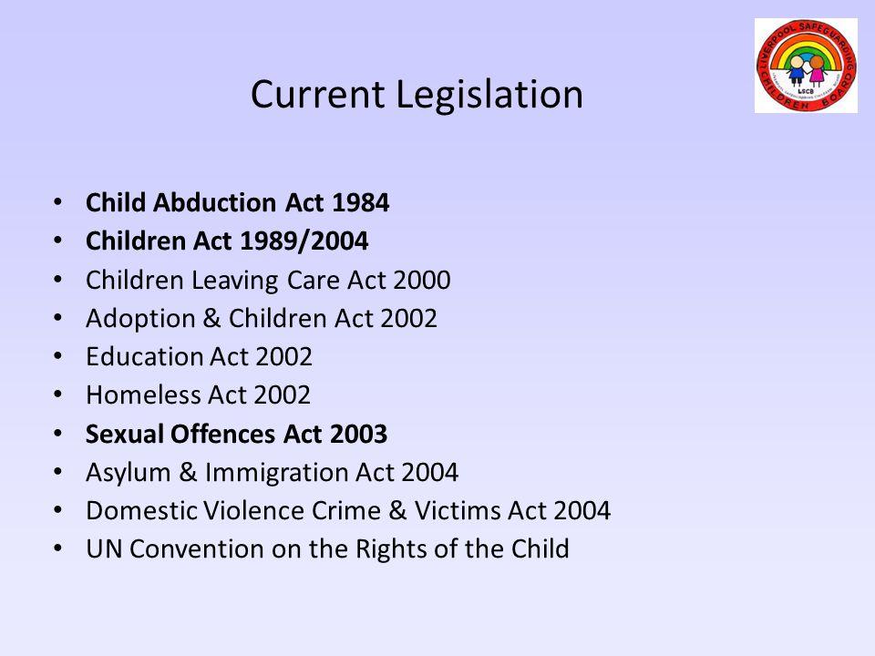 Current Legislation Child Abduction Act 1984 Children Act 1989/2004