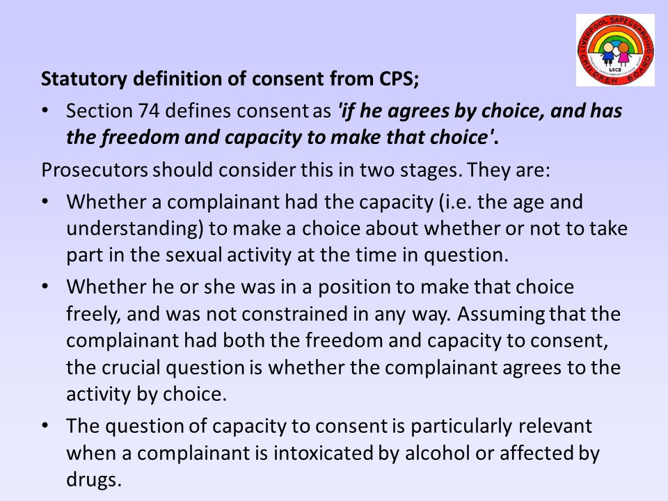 Statutory definition of consent from CPS;