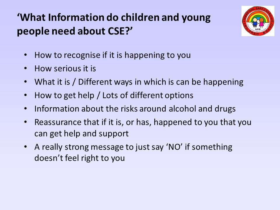 'What Information do children and young people need about CSE '