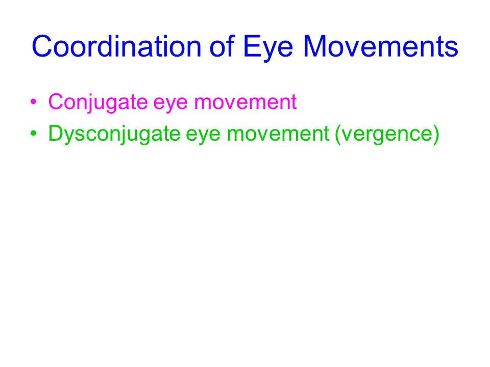 Coordination of Eye Movements