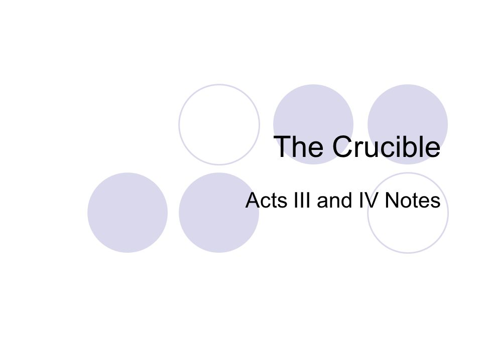 The Crucible Acts III and IV Notes