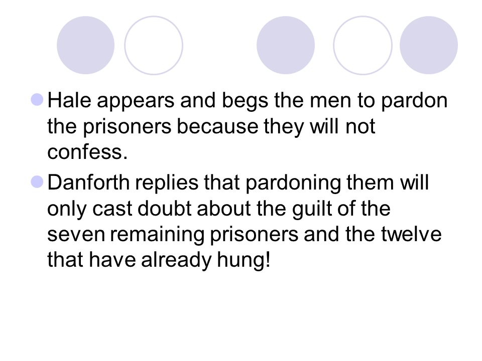 Hale appears and begs the men to pardon the prisoners because they will not confess.