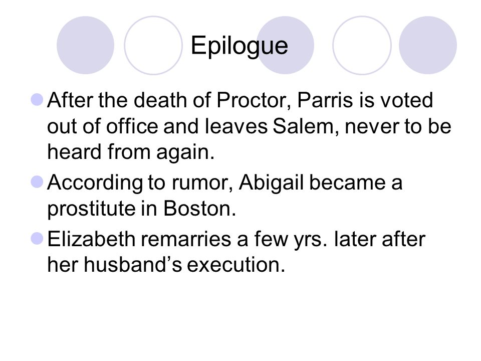Epilogue After the death of Proctor, Parris is voted out of office and leaves Salem, never to be heard from again.