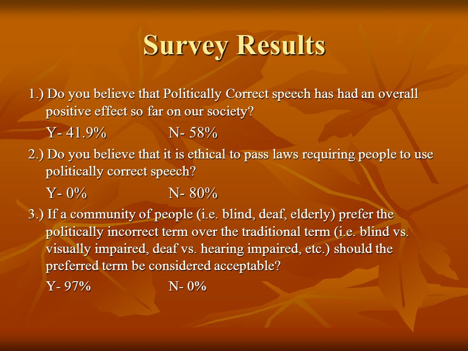 Survey Results 1.) Do you believe that Politically Correct speech has had an overall positive effect so far on our society