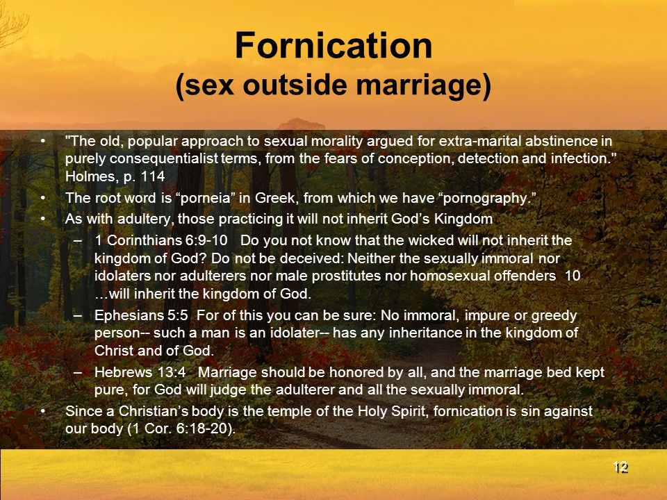Fornication (sex outside marriage)