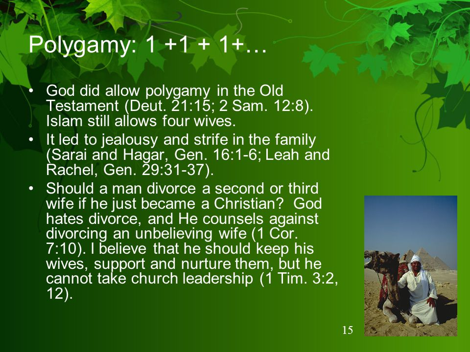 Polygamy: 1 +1 + 1+… God did allow polygamy in the Old Testament (Deut. 21:15; 2 Sam. 12:8). Islam still allows four wives.