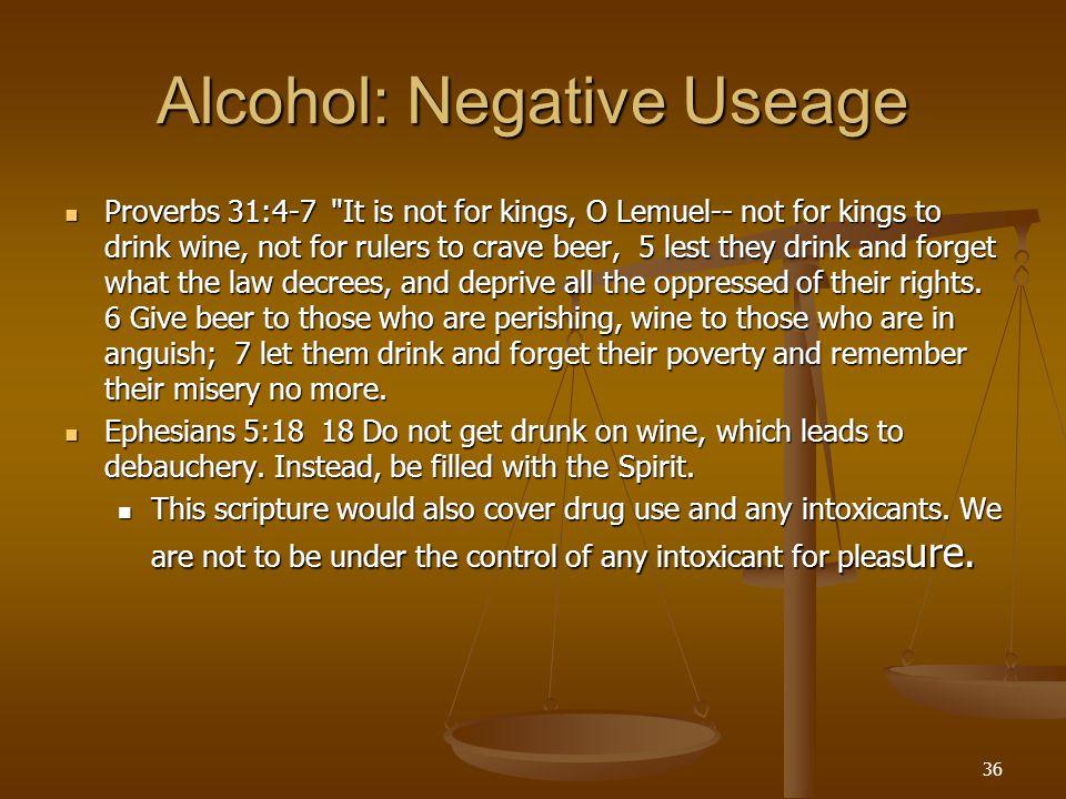 Alcohol: Negative Useage