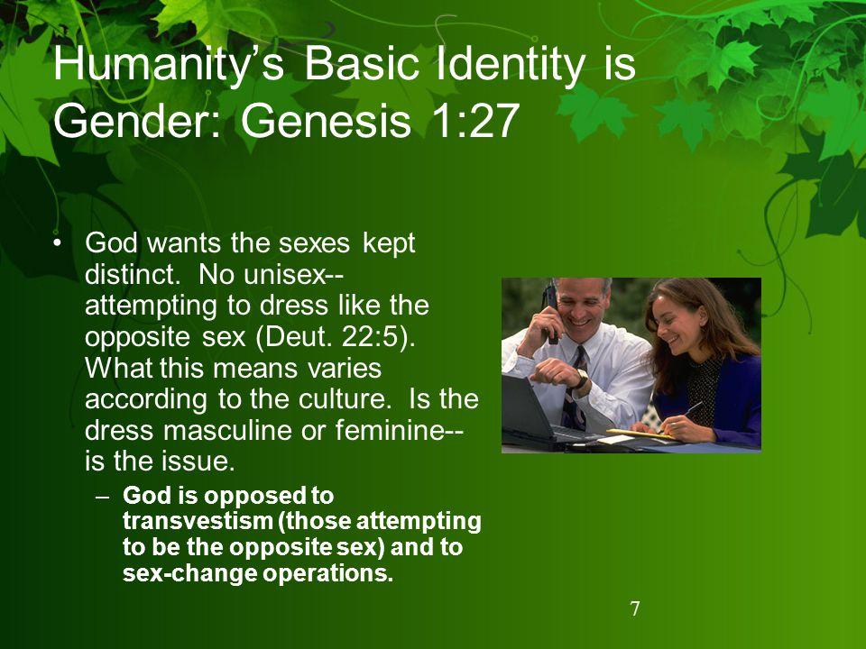Humanity's Basic Identity is Gender: Genesis 1:27