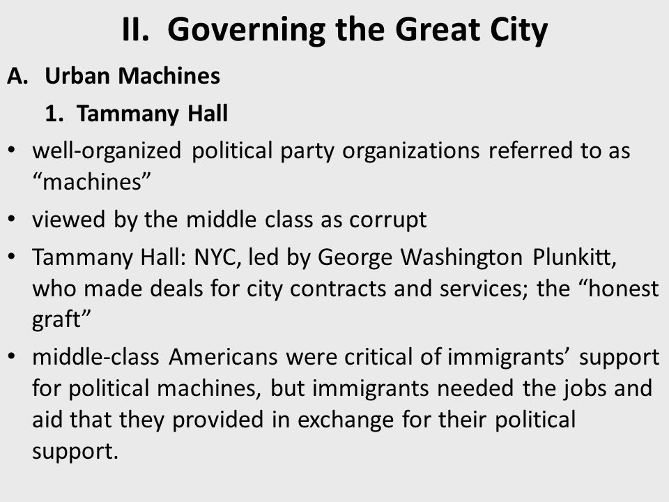 II. Governing the Great City
