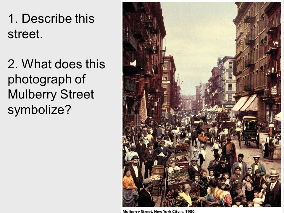 2. What does this photograph of Mulberry Street symbolize