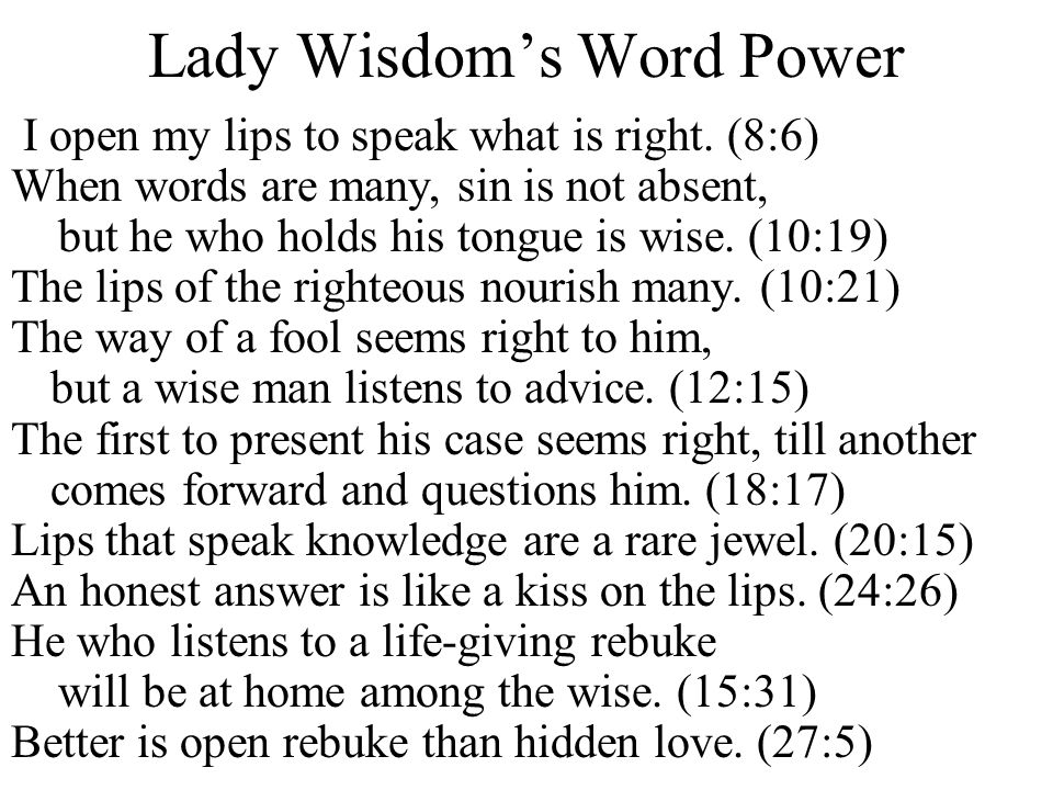 Lady Wisdom's Word Power