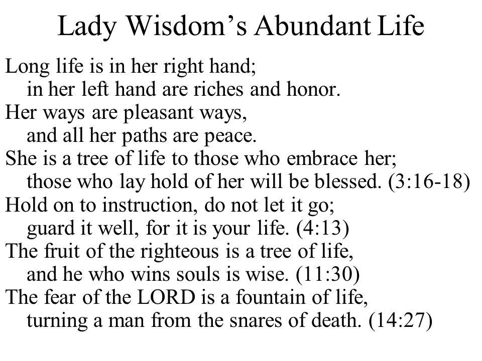 Lady Wisdom's Abundant Life